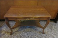 Quarter cut oak library table with ball &claw feet