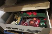 Closet full of Christmas decor and craft supplies