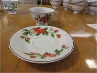 Grouping of cups & saucers, creams & sugars