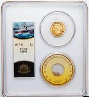 $3 1857-S PCGS MS63 EX S.S. CENTRAL AMERICA