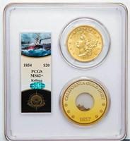 $20 1854 KELLOGG. PCGS MS62+ CAC