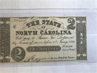 1861 $2 The State of North Carolina Note