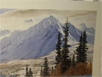 Beautiful Signed Snow Filled Mountains Print