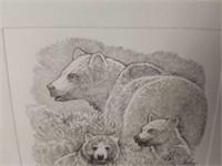 Small John Dawson Print of Bear Pencil Etching