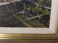 """Framed Paco Young """"Moose Family"""" Oil on Canvas"""
