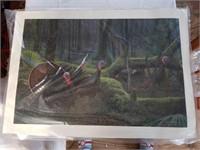 Signed David Lanier Turkey Print on Canvas