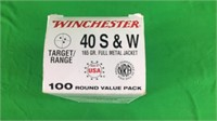 .40 S&W Winchester Ammo- 165Gr. FMJ-100 Rounds