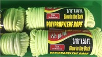 "3/16"" X 50' Glow In The Dark Polypropylene Rope"