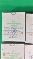 7.62mm NATO Ball M-80 Ammo-10 Round Boxes