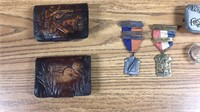 Box of Collectables- Belt Buckles, Medals,Etc.