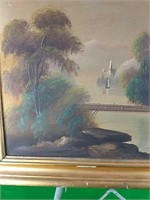 Oil painting depicting houses on the river