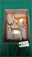 2 Plastic Deer Statues