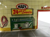 MARX DAY & NIGHT SERVICE STATION TIN TOY GARAGE