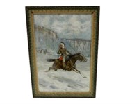 FRAMED 1904 GEAM SMITH HAND PAINTED PICTURE