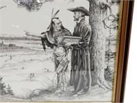 FRAMED KOCSIS PRIEST & INDIAN SKETCH