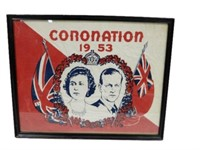 FRAMED 1953 CORONATION CLOTH ELIZABETH & PHILLIP