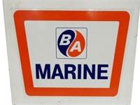 METAL SIGN WITH B/A(BLUE/ORANGE) MARINE STICKER