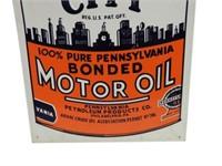 QUAKER CITY MOTOR OIL SST EMBOSSED SIGN
