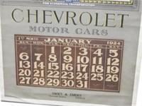 RARE 1924 CHEVROLET MOTOR CARS ADVERT. CALENDAR