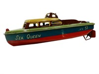 SEA QUEEN NO. 53 SPEED BOAT TIN TOY