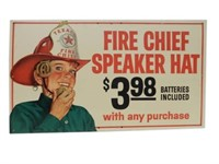 TEXACO FIRE CHIEF SPEAKER HAT CARDBOARD SIGN
