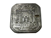 VINTAGE EMBOSSED LUCKY DIME REGISTER BANK