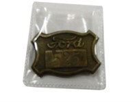 1940'S FORD WORKER'S ID 525 BRASS EMBOSSED BADGE