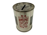 B/A (GREEN RED) PEERLESS MOTOR OIL 4 OZ PENNY BANK