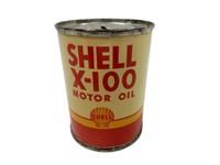SHELL X-100 MOTOR OIL ADVERTISING 4 OZ.PENNY BANK