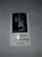 H & K Male Worker at Desk Steel Sculpture with COA