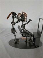 H & K Woman Hair Dresser Steel Sculpture with COA