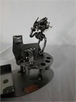 H & K Woman Worker At Desk Steel Sculpture