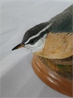 Signed Wood Carved Red-Breasted Nuthatch Statue