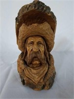 Wooden Hand Carved Cowboy Bust by Ron Foreman