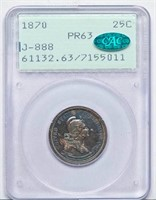 25C 1870 J-888. PCGS PR63 CAC