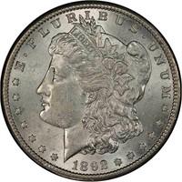 $1 1892-S PCGS AU58 CAC
