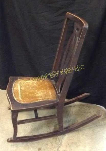 Stupendous Antique Rocking Chair W Leather Seat Bid Kato Cjindustries Chair Design For Home Cjindustriesco