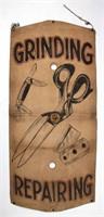 Trade sign, stencil on heavy canvas