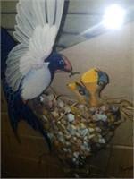 Handmade Framed Blue Bird Feeding Young Sculpture