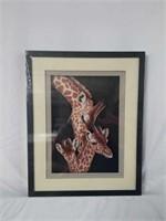 Framed Handmade Giraffe & Young Paper Sculpture