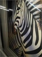 Framed Handmade Pair of Zebras Paper Sculpture