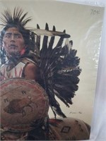 Beautiful Signed Native American Print on Canvas