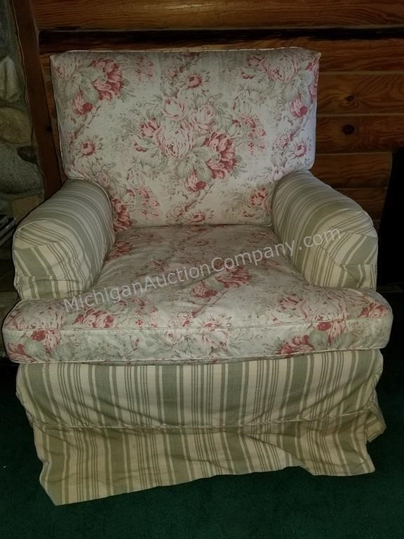 Outstanding Beautiful Multi Floral And Striped Sofa Chair American Andrewgaddart Wooden Chair Designs For Living Room Andrewgaddartcom