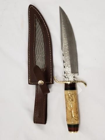 Damascus Bowie Knife W Carved Bone Handle Antique 2 Modern Auction House