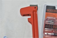 Pipe Wrench, (3) Pairs of Gloves & Black