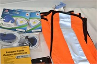Safety Vest, Bungee Cords, Tape, etc.