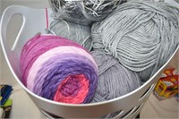 Laundry Basket with Assortment of Wool