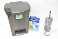 Garbage Bin (Foot Pedal Broken), Toilet Brush,