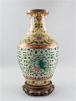Chinese Imperial Yangcai Reticulated Vase Qianlong