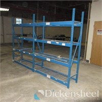 (2) Blue Four Shelf Metal Shelves as